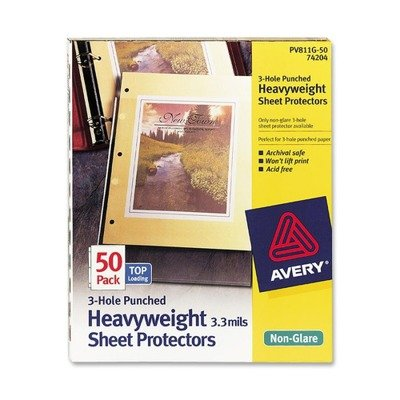 AVERY-DENNISON 74204 Top-Load Poly Three-Hole Sheet Protectors, Non-Glare, Letter, 50/Box Avery Dennison AVE74204
