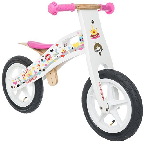 BIKESTAR Original Safety Wooden Lightweight Kids First Balance Running Bike with air Tires for Age 3 Year Old Girls | 12 Inch Edition | Princess White
