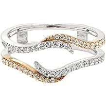 Dream Jewels 14K TwoTone Gold Plated Alloy Lab Created Diamond Solitaire Ring Guard Wrap Enhancer Jacket Wedding Engagement Anniversary Ring Women's Jewelry