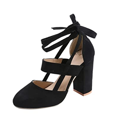 021491ac701 AOJIAN Women Party Suede Strappy Thick High Heels Sandals Classic Plus Shoes  (6