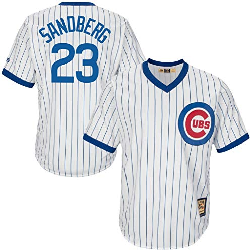 Majestic Chicago Cubs MLB Mens Sandberg Cool Base Cooperstown V Neck Player Jersey White Pinstripe Big & Tall Sizes (5XT)