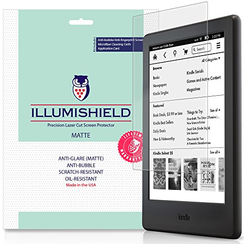iLLumiShield Matte Screen Protector Compatible with Amazon Kindle (6 inch,2016)(8th Gen)(3-Pack) Anti-Glare Shield Anti-Bubble and Anti-Fingerprint PET Film