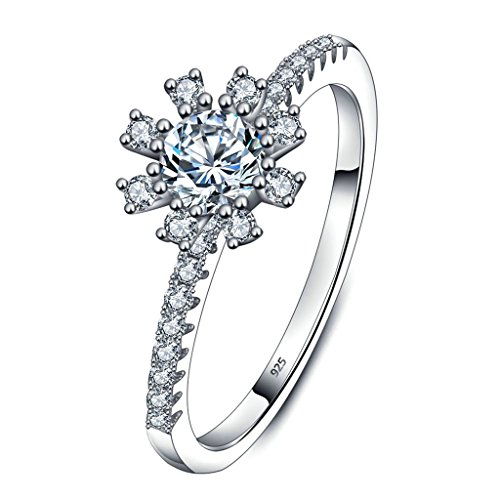 Daesar Silver Plated Promise Rings Womens Engagement Rings Cubic Zirconia Snowflake 4MM Size:7