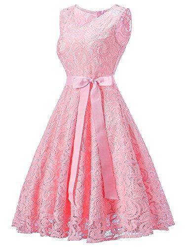 para Cóctel Encaje Madrina Cuello Sin Vestido Fiesta Eventos V Redondo Mujer Vestido de Fietsa Manga Vestido V Lazo y Ceremonia Boda de DYLH Cuello rosa Corto con de y tvwtRq