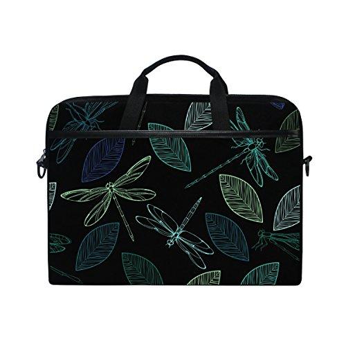 jstel Colorful Libellen und Leaf Laptop Schulter Messenger Tasche Fall Sleeve für 35,6cm zu 39,6cm mit verstellbarer Notebook Schultergurt
