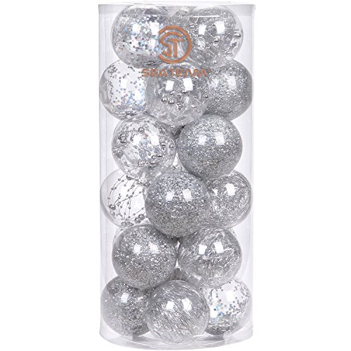 Sea Team 70mm/2.76 Shatterproof Clear Plastic Christmas Ball Ornaments Decorative Xmas Balls Baubles Set with Stuffed Delicate Decorations (24 Counts, Silver)