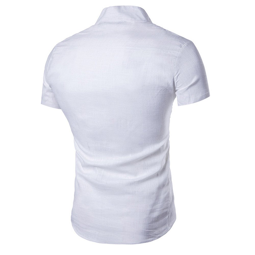 Mens Shirts,Casual Short Sleeve Slim Fit Sloid Shirts Tops for Men by Nevera