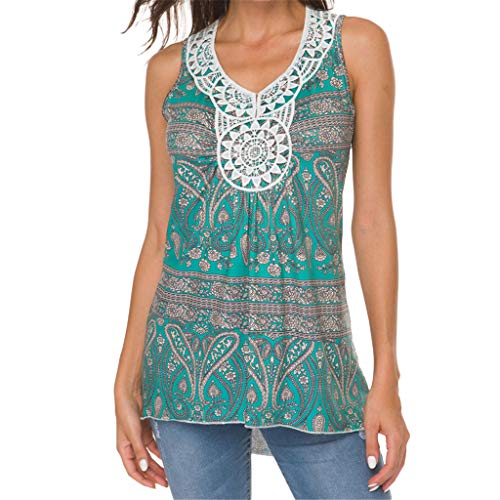 LISTHA Lace Tank Tops Women Casual Floral Sleeveless Print Blouse Tunic Tees Green
