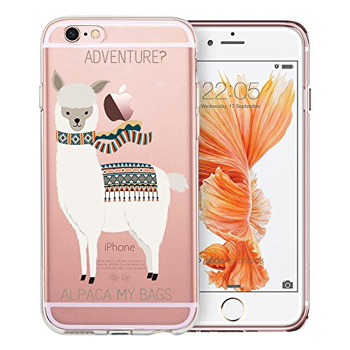 iPhone 6s Plus Case Clear, Unov iPhone 6 Plus Case Clear with Design Soft TPU Bumper Shock Absorption Slim Embossed Pattern Protective Cover for Apple iPhone 6s/6 Plus 5.5 inch (Alpaca Bags) (6 Quotes Iphone Plus Case Girly)