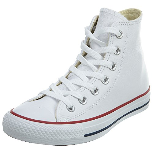 White Leather High Top Shoes - Converse Chuck Taylor All Star Leather High Top Sneaker, White, 10.5 M US