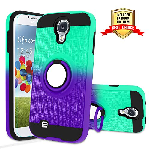 Galaxy S4 Case, Galaxy S4 Phone Case with HD Screen Protector,Atump 360 Degree Rotating Ring Holder Kickstand Bracket Cover Phone Case for Samsung Galaxy S4 Mint/Purple