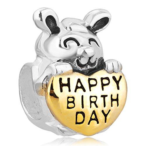 Charm Rabbit Pugster (Pugster Sterling Silver Charm Rabbit Holding Heart Love Charms Birthday Charm Fit Pandora Charm Bracelets)
