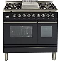 Ilve UPDW90FDMPM Pro Series 36 Dual Fuel Double Oven Range Griddle, Convection Oven, Warming Drawer Matte Graphite