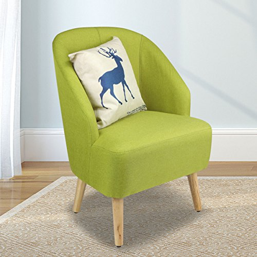 Magshion Elegant Upholstered Fabric Club Chair Accent Chair W/ Free Pillow Living Room (Green)