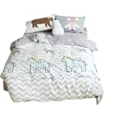 BuLuTu Cartoon Horse Print Cotton Duvet Cover Queen White/Grey Reversible Full Comforter Cover Bedding Sets 3 Pieces Zipper Closure 4 Corner Ties Kids Boys Girls,Lightweight,No Comforter