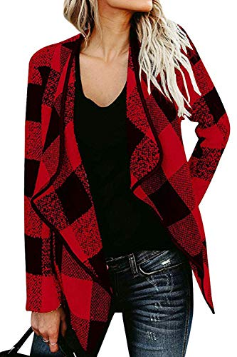 Yin Chen Womens Plaid Jacket Blazer Casual Long Open Cardigans Coat