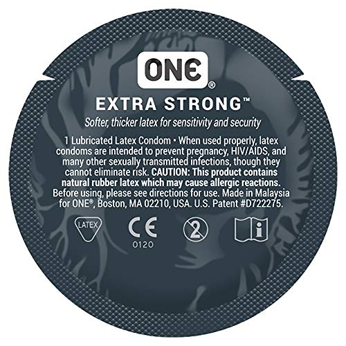 ONE Extra Strong, Thicker Lubricated Latex Condoms with Bonus Pocket/Travel Case-24 Count (Silver Case)