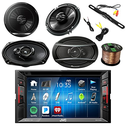 JVC KW-V140BT 2DIN BT Car Stereo Receiver, touchscreen with Pyle License Plate Mount Rear View Color Camera, Pioneer 6.5