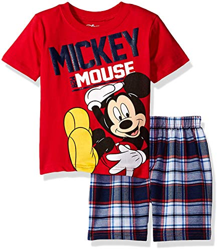 Disney Toddler Boys' Mickey Mouse Plaid Short Set with T-Shirt, Red, 2T