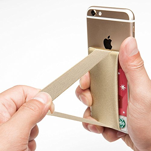 SINJIMORU Phone Grip with Card Holder for Phone, Stick on Phone Wallet with Phone Finger Gripper Storing Credit Cards. Strap Pocket for Cell Phone. Sinji Pouch Band, Beige Pouch and Beige Band.