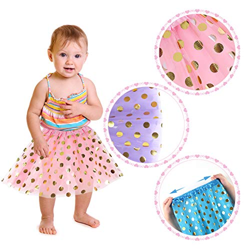 Koogel 4 PCS Tutu for 2 to 5 Years Old Girls, 3-Layer Dress Up Tutu Polka Dot Assorted Colors Tutu Skirts Ballet Skirts for Dress Up Game Birthday Party Halloween Costume