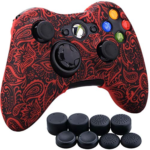 9CDeer 1 Piece of Silicone Water Transfer Protective Sleeve Case Cover Skin + 8 Thumb Grips Analog Caps for Xbox 360 Controller, Leaves Red