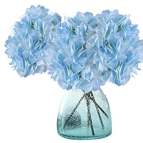 Meiwo Artificial Hydrangea Flowers, 2 Pcs Fake Hydrangea Silk Flowers to Shine Your Wedding Scene Arrangement and Home Party Decor(Blue)
