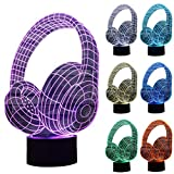 ZLTFashion 3D Visual Optical Illusion Colorful LED Table Lamp Touch Cool Design Night Light Christmas Prank Gifts Romantic Holiday Creative Gadget (Headset)