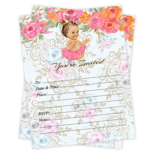 (Princess Girl Birthday or Baby Shower Party Invitations 20 Count With Envelopes)