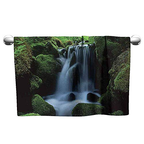 (duommhome Waterfall Decor Collection Water-Absorbing Bath Towel Flowing Water from Mountain Stream Moss Covered Stones Picture W14 x L27 Dark Green Olive )