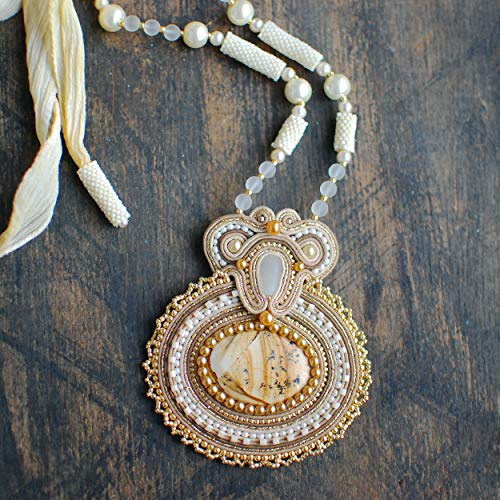 Soutache handmade embroidered oval beige ivory gold pendant with jasper, Beaded luxury big necklace, Fabric oriental gemstone bohemian sparkly boho ethnic jewelry for woman (Jasper Necklace Fabric)