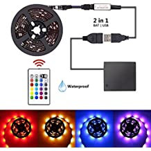 LED Strip Lights Battery Powered USB Operated 2 in 1, XYOP Waterproof RGB Led Lights Strip, Flexible Led Strip Rope Lights with RF, Color Changing Lights for TV Backlight (RGB 24keys-2M/6.6FT)