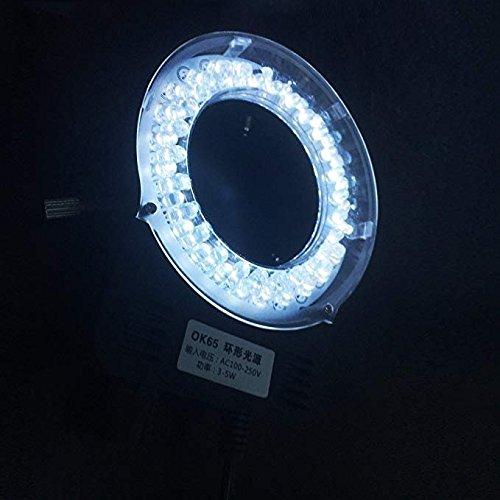 Microscope LED Lamp Adjustable Brightness Annular Light Source Appearance USB Plug OK65 (Black)