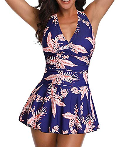 (Century Star Women's Two Piece Tummy Control Skirt Swimsuit Ruched Retro Slim Swimdress Bathing Suit Floral 2X-Large(fit Like US 18-20) )