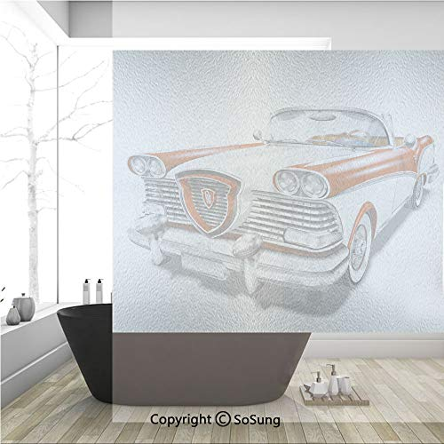 3D Decorative Privacy Window Films,Retro Car in Red and White Exclusive Model Machine Drophead Coupe Decorative,No-Glue Self Static Cling Glass film for Home Bedroom Bathroom Kitchen Office 36x36 Inch ()