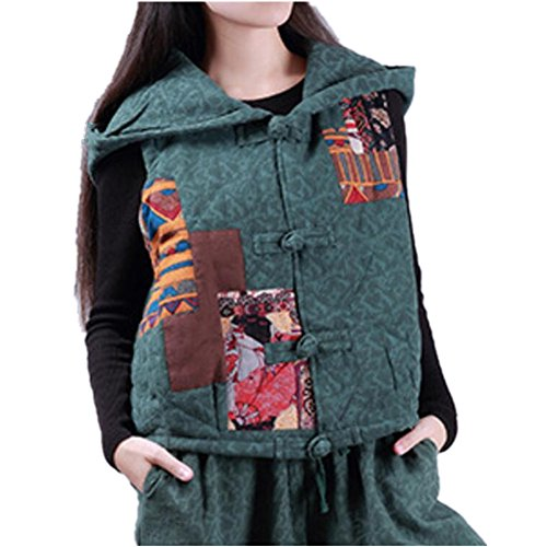 Yesno TT1 女性フード付きショートジャケットジャケットヴィンテージ民族刺繍風セットトップスパンツ冬