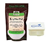 NOW Foods Erythritol 1lb Zero Calories Pure Organic Sweetener Bundle with a Lumintrail Pill Case