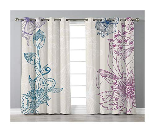 (Goods247 Blackout Curtains,Grommets Panels Printed Curtains Living Room (Set of 2 Panels,52 63 Inch Length),Floral)
