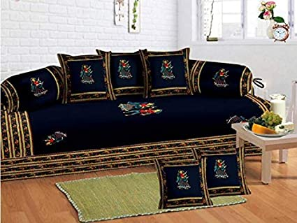 UniqChoice Jaipuri Tradition Embroidered Patch Work 204 TC Cotton 8 Piece Diwan Set - Brown