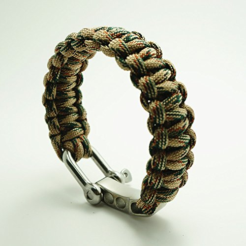 TI-EDC Handwoven Paracord Outdoor Survival Bracelet With Stainless Steel Shackle Buckle - Best Fit 7 to 8 inch Wrists (Woodland Camo, 7-8 inches)