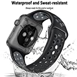 YOUKEX Compatible with Apple Watch Band 38mm 42mm 40mm 44mm, Soft Silicone Strap Replacement Bands for iWatch Apple Watch Series 1, Series 2, Series 3, Nike+, Sport, Edition S/M M/L