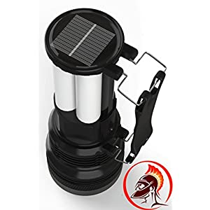 #1 Rechargeable Solar Flashlight by Knight Lighter for Survival Kit Emergency has Ultra Bright 500 Lumen LED Spotlight and 24 LED Lantern With Solar and AC Rechargeable Lithium Battery for Emergency