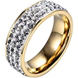Titanium Steel CZ Gold Plated Ring Wedding Men Womens Engagement Band (8)