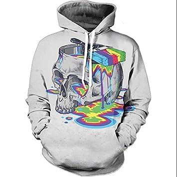 WEIYI Sudaderas de Invierno 3D Pintura Cráneo Hoody Estilo Casual Sudadera con Sombrero suéter de Manga Larga Moda Ropa Deportiva: Amazon.es: Deportes y ...