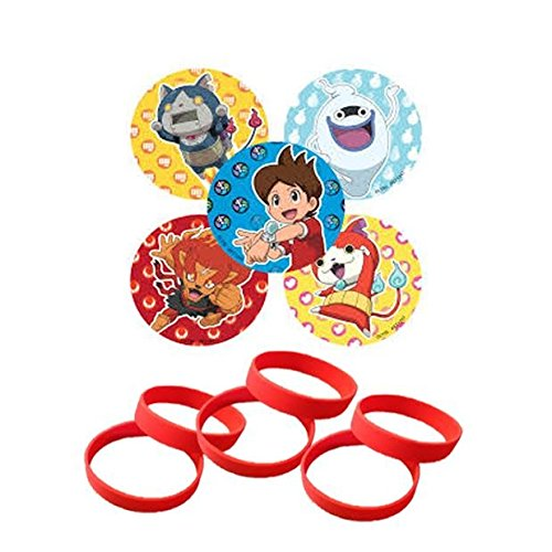 24 Yo-Kai Watch Party Favor Stickers & 12 Red Youth Wristbands