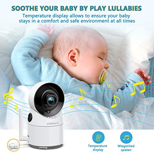 "Campark Baby Monitor with Camera and Audio, 355° Remote Pan Digital Zoom, Interchangeable Optical Lens, VOX Mode Lullaby Player, Night Version, Two-Way Talk Audio, 3.5"" LCD Display, Support 4 Cameras"