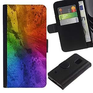 KLONGSHOP / Tirón de la caja Cartera de cuero con ranuras para tarjetas - Messy Rainbow Colorful Blue - Samsung Galaxy S5 V SM-G900