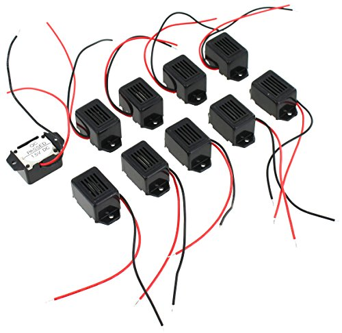 Pack of 10 Mini Buzzers with Leads - 1.5V 400Hz Morse Code Mechanical Electronic Components