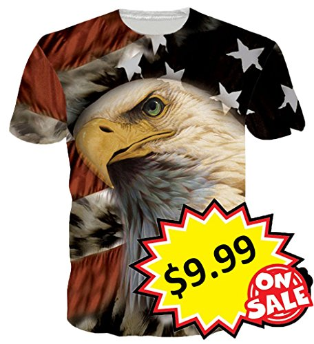 Leapparel Unisex America Flag Eagle Printed Summer Short Sleeve T Shirts Tees Apparel - Asian Eagle T-shirt