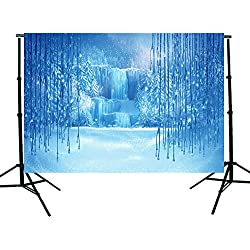 DODOING 7x5ft Christmas Winter Frozen Snow Ice Crystal Pendant World Backdrops Photography Background for Children Photo Studio Props Backdrop